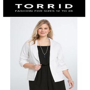 Torrid White Tuxedo Blazer Size 2x